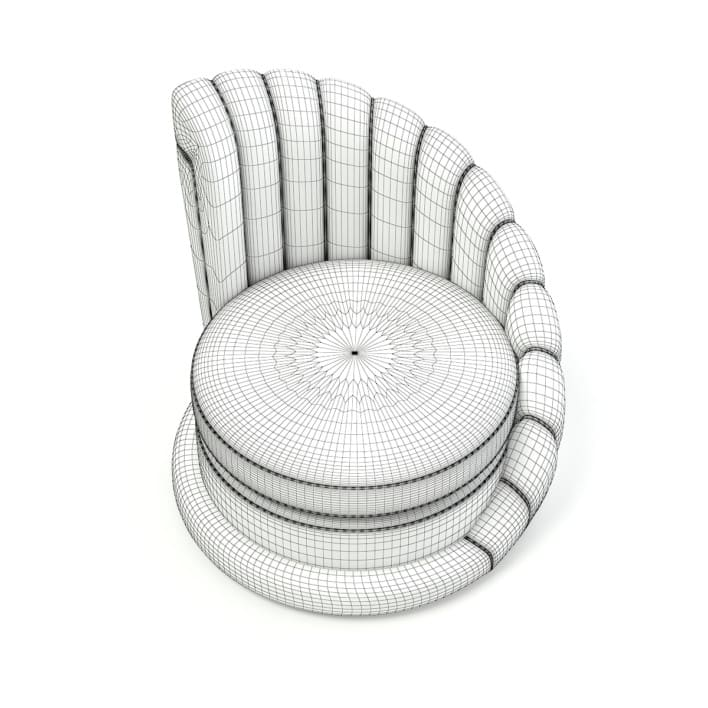 Round Leather Armchair 3D Model