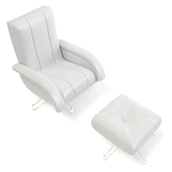 White Leather Swivel Chair with a Stool 3D Model