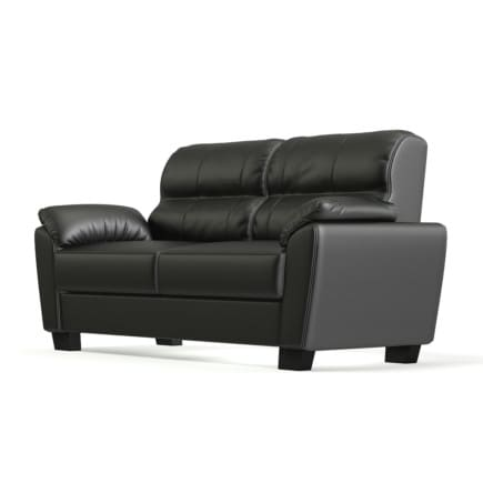 Black Leather Classic Sofa 3D Model