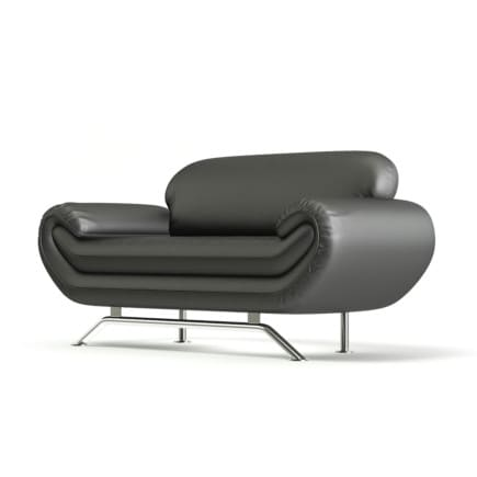 Black Leather Modern Sofa 3D Model