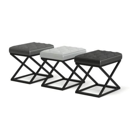 Three Leather Stools 3D Model