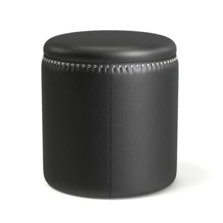 Round Black Leather Stool 3D Model