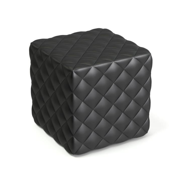 Black Leather Cube Pouf 3D Model