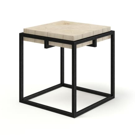 Wood and Metal Square Coffee Table 3D Model