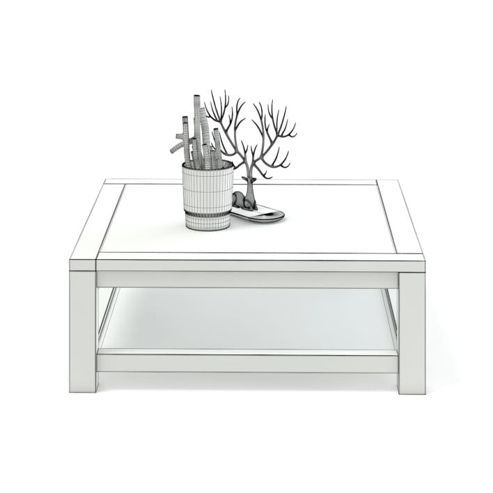 Wood and Glass Coffee Table 3D Model