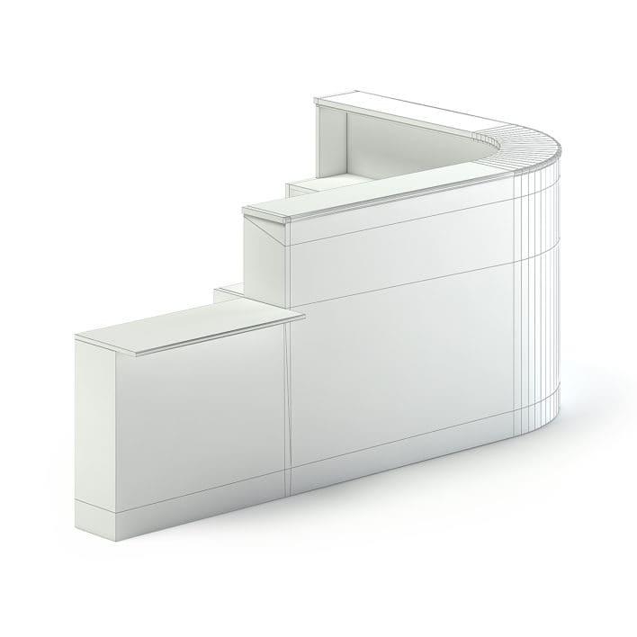 Long Rounded Reception Desk 3D Model