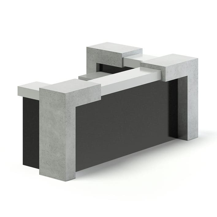 Black and Grey Reception Desk 3D Model