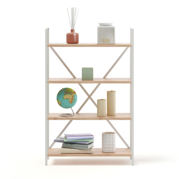Bookshelf with Decorations 3D Model