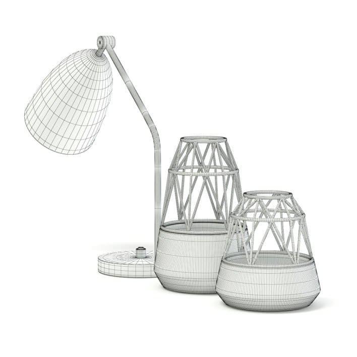 Golden Lamp and Decoration Vases 3D Model