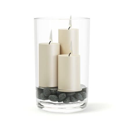 Candlesticks in Glass Vase 3D Model