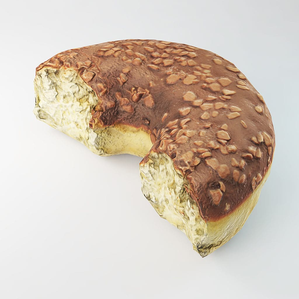 bitten donut with chocolate unity 3d model