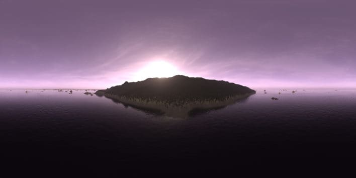 Morning Ocean Island HDRI Sky