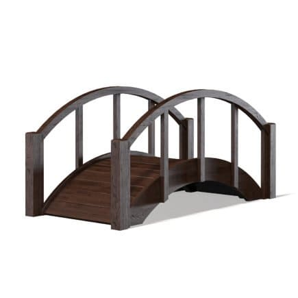 Small Dark Wooden Bridge 3D Model
