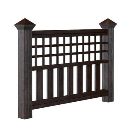 Dark Wooden Fence 3D Model