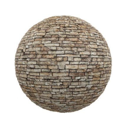 Brown Stone Brick Wall PBR Texture