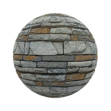 Grey and Orange Stone Bricks PBR Texture