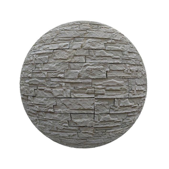 Grey Stone Brick Wall PBR Texture