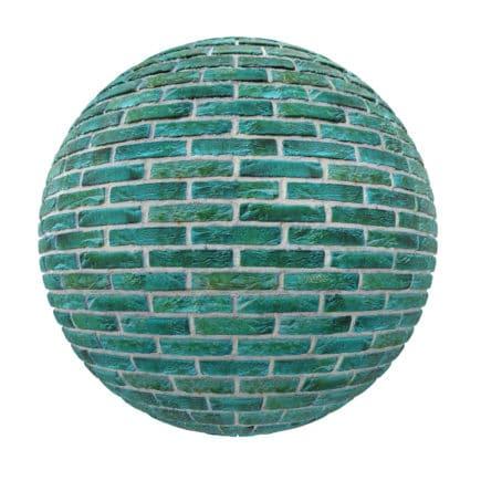 Green Brick Wall PBR Texture