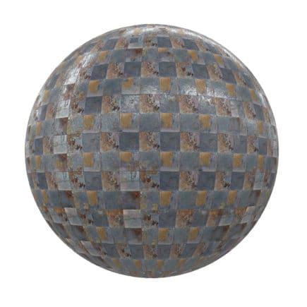 Old Metalic Tiles PBR Texture