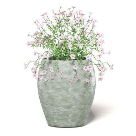 Pink Flowers 3D Model in Ceramic Pot