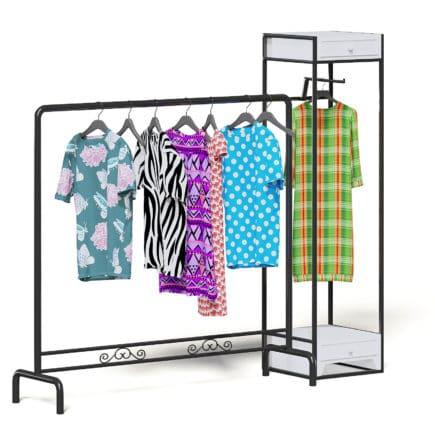 Market Rack 3D Model - Clothes