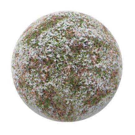 Grass with Little Snow PBR Texture