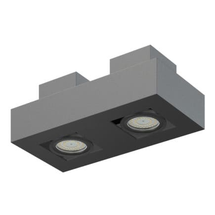 Black Double Rectangular Halogen Light 3D Model