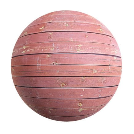 Red Painted Wooden Planks PBR Texture