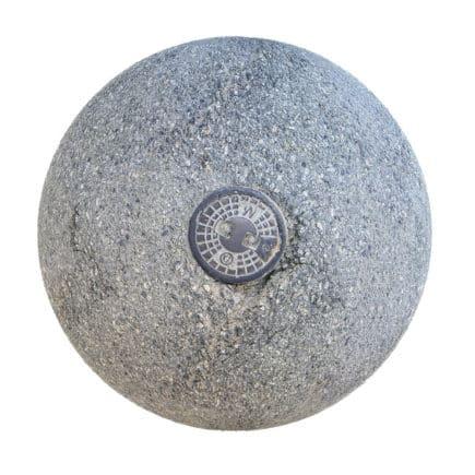 Grey Asphalt with Metal Plate PBR Texture