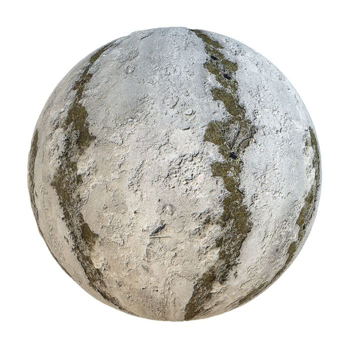 Grey Concrete with Moss PBR Texture