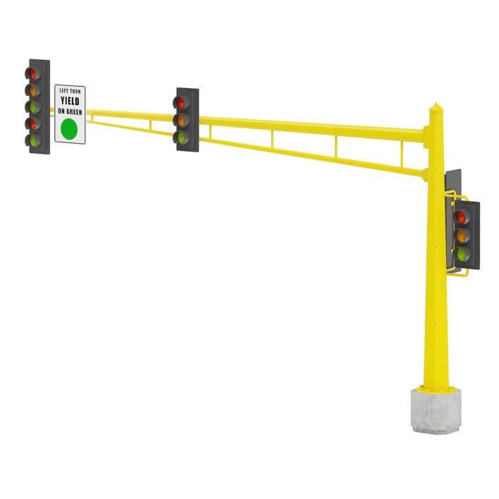 Large Traffic Lights 3D Model