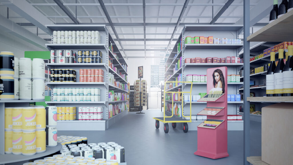 Supermarket scene with shopping shelves with lots of different products.
