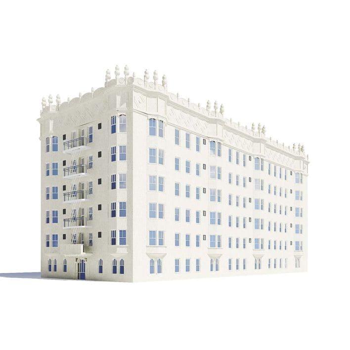 White Apartment Building 3D Model