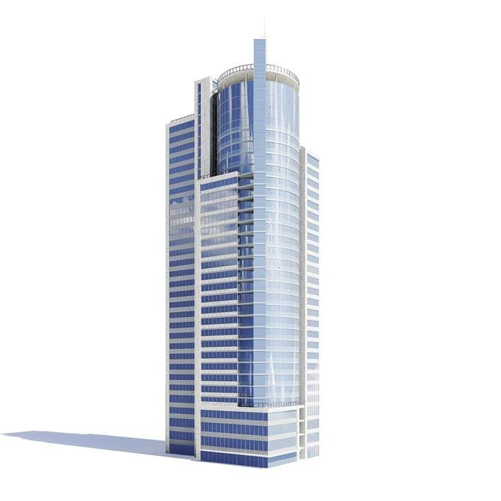 Skyscraper with Helipad 3D Model