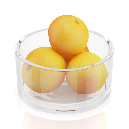 Oranges in glass bowl 3D Model