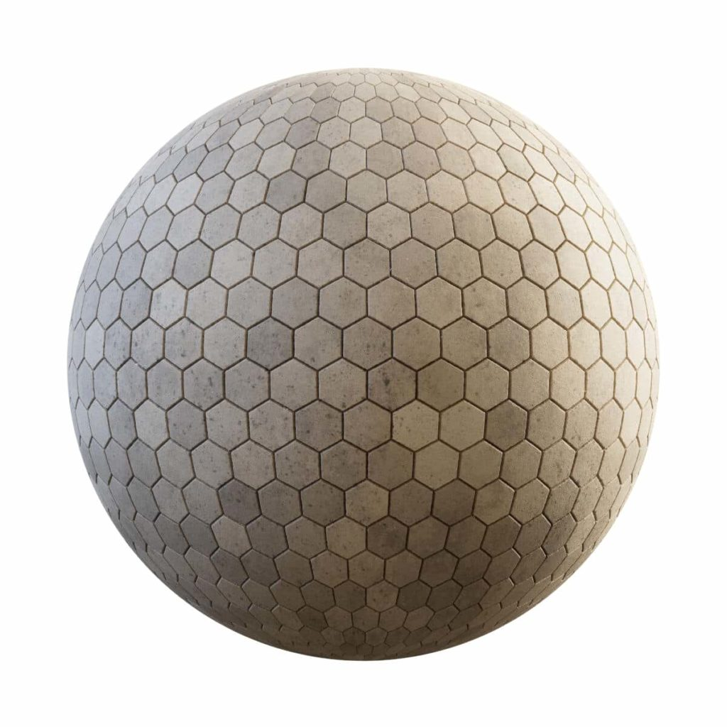 yellow hexagonal concrete pavement pbr texture